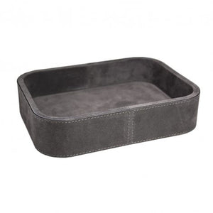 Dark Grey Large Rectangular Suede Stacking Tray