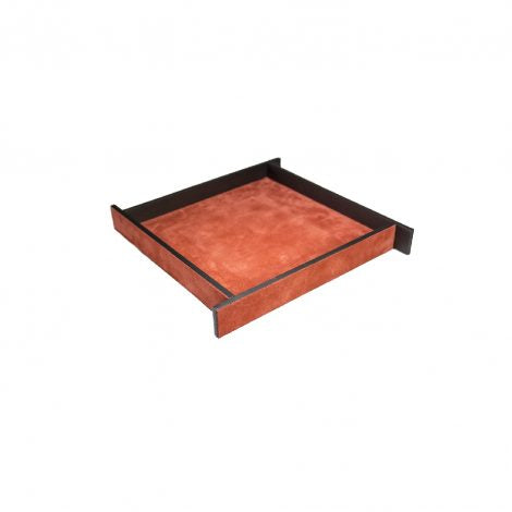 Small Orange Suede & Bronze Malaparte Tray
