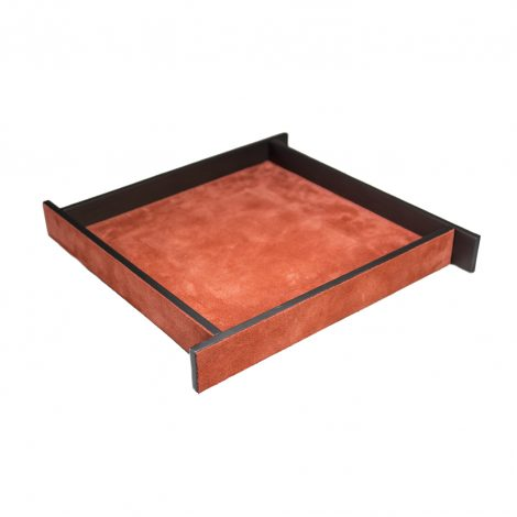 Large Orange Suede & Bronze Malaparte Tray