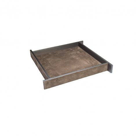 Small Brown Suede & Bronze Malaparte Tray