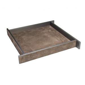 Large Brown Suede & Bronze Malaparte Tray