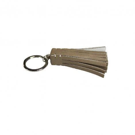Taupe/White Leather Medusa Key Ring