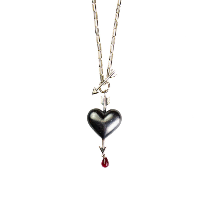 Small Bleeding Onyx Heart Necklace