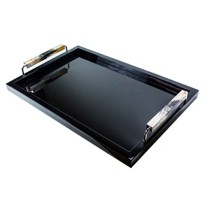 Black Lacquer Tray with Horn Handles