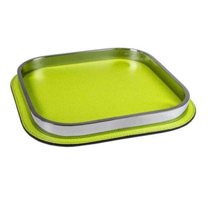 Apple Green Leather & Chrome Tray