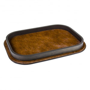 Brown Calf Hair and Brass Tray