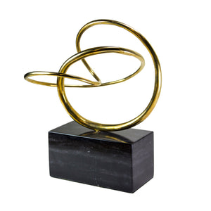 Organic Brass Shape on Marble Stand
