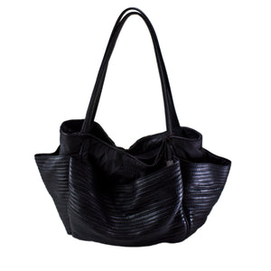 Large Black Boen Nylon & Leather Handbag