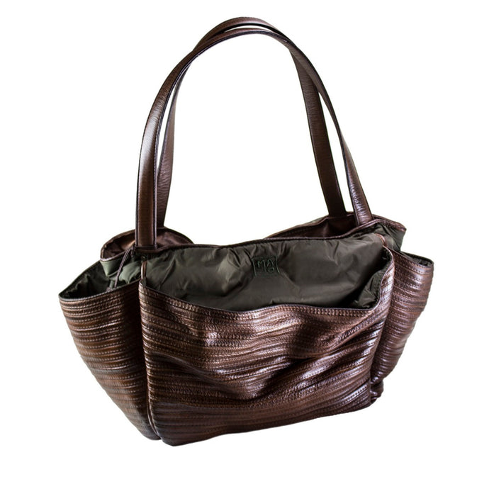 Large Brown Boen Nylon & Leather Handbag