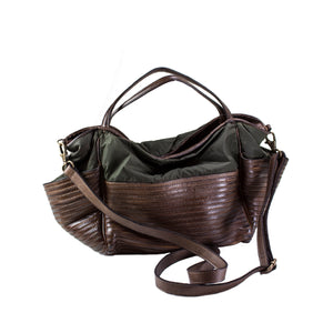 Small Brown Boen Nylon & Leather Handbag