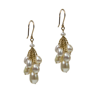 Cluster Earrings - White Pearl