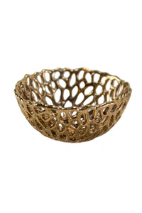 Mini Lacy Mushroom Bowl in Polished Bronze