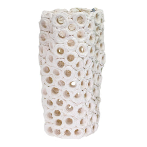 Freeform White Perforated Vase