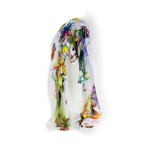 Tropical Print Linen Scarf