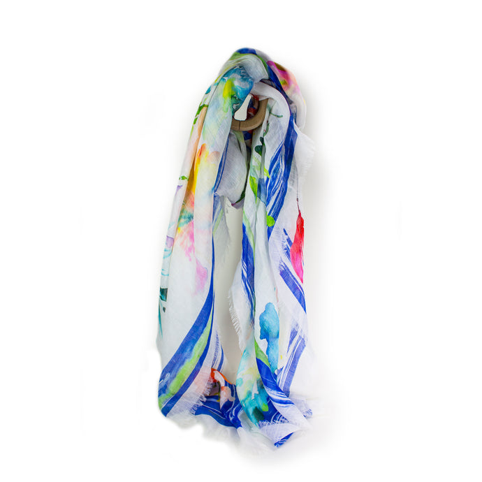 Spring Flowers Watercolor Scarf