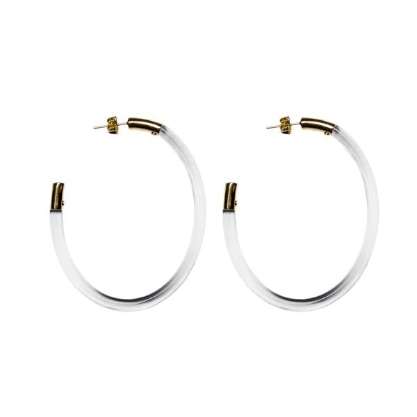Gemology Clear Oval Hoop Earrings