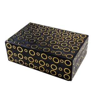 Brass Ring Inlaid Laquered Large Box