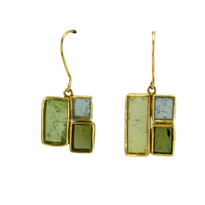 Green Tourmaline Mondrian Earrings
