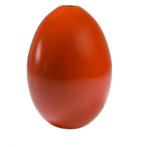 Tall Coral Red Egg Vase