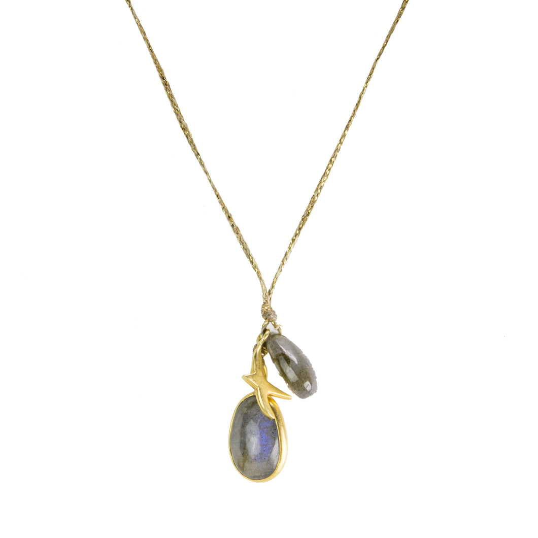 Labradorite Double Colette With Swallow Pendant Necklace