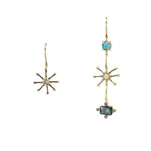 Aqua Cross Earrings