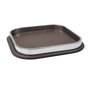Chocolate Leather & Chrome Tray