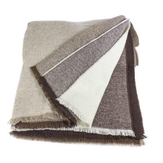 Lacoste Brown Woven Cashmere Throw