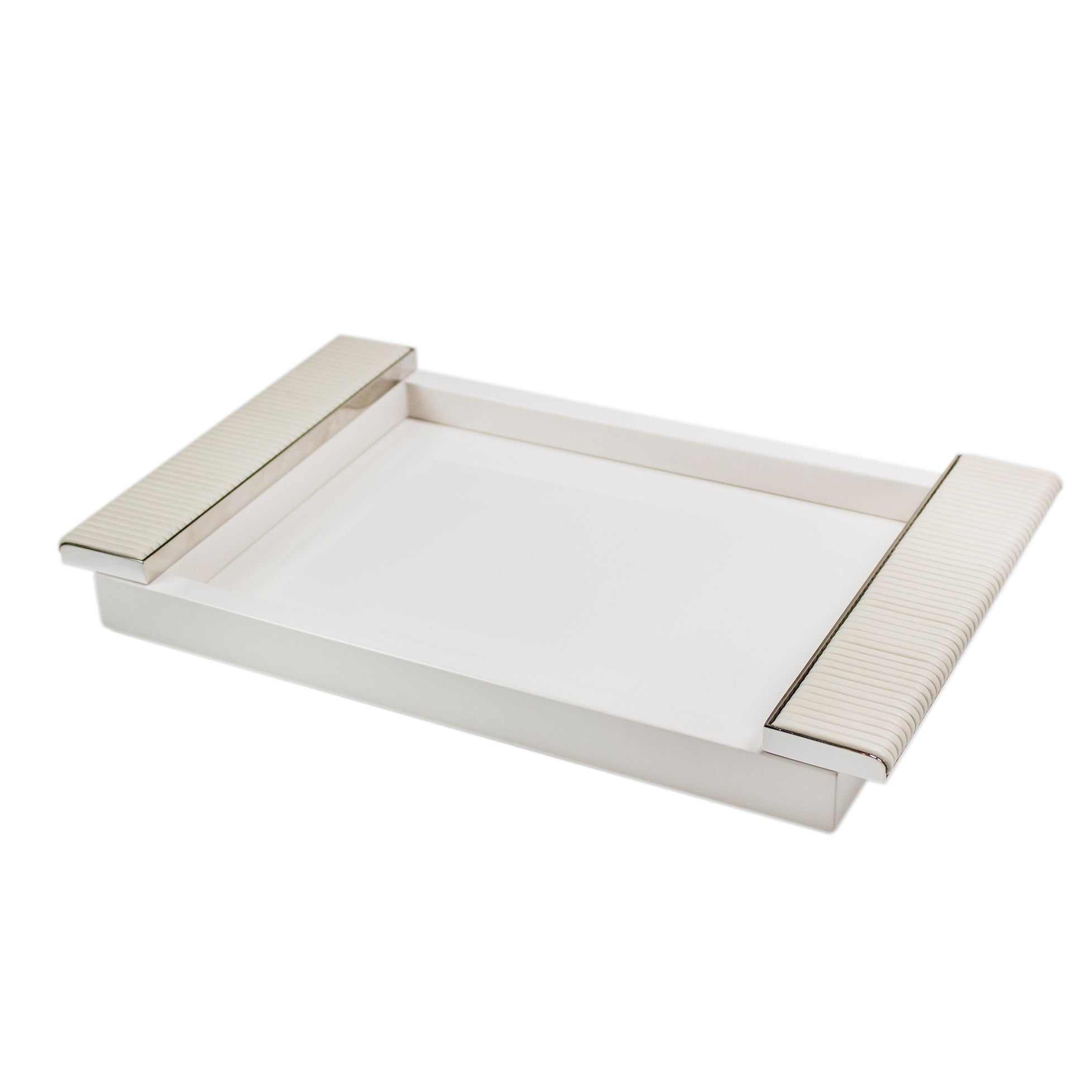 white leather serving tray Wrapped Ivory Leather Tray Large