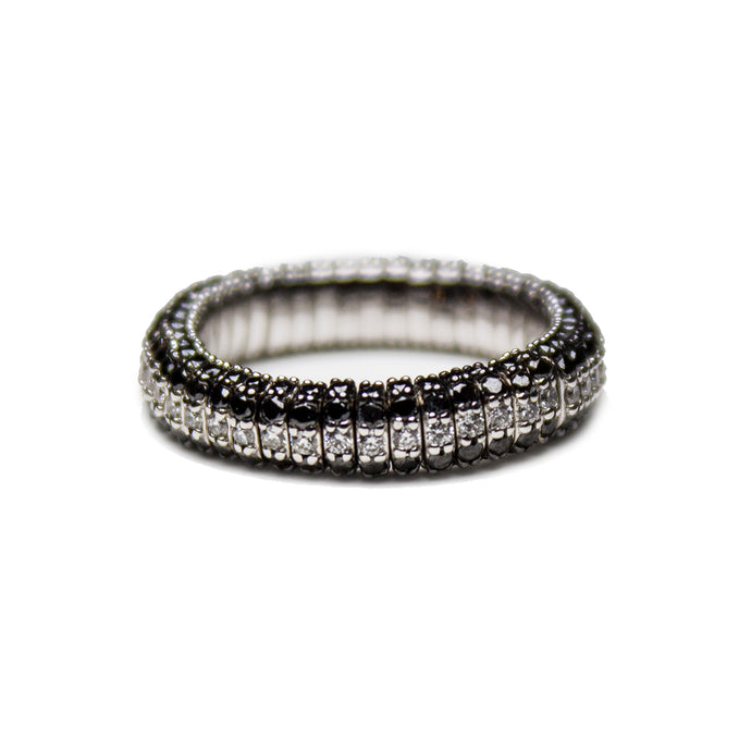 Cashmere Collection Stretch Ring with White and Black Diamonds