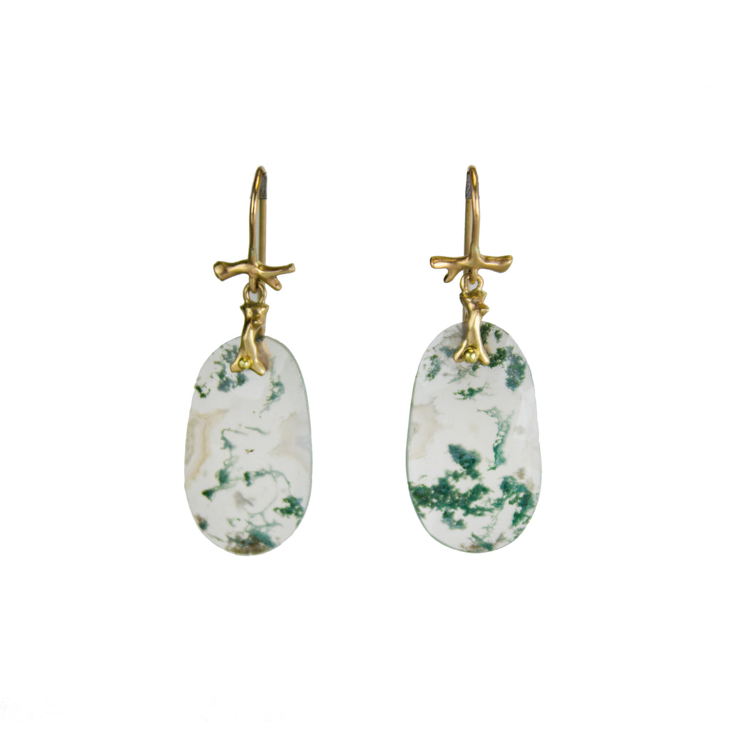 Little Moss Agate Earrings