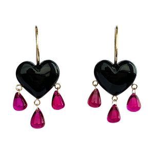 Bleeding Onyx Heart Earrings