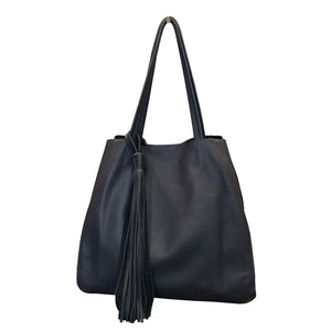 London Calling Navy Leather Handbag
