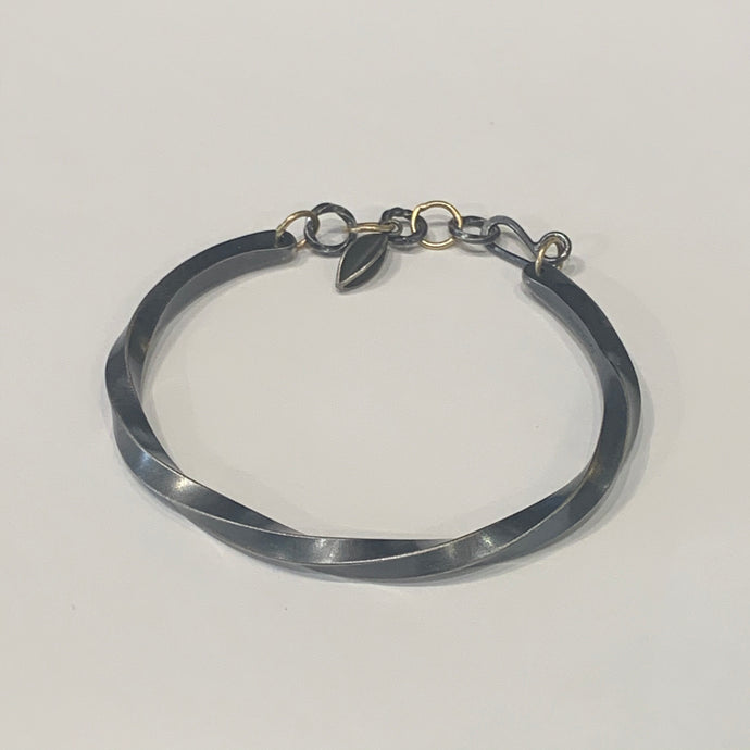 Sterling Bias Cuff with Clasp