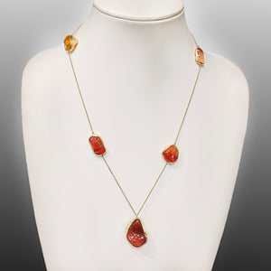 5 Stone Fire Opal Necklace