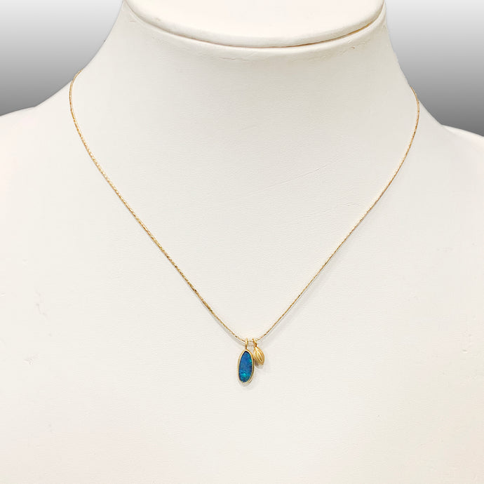 Caribbean Opal with Gold Seed Necklace