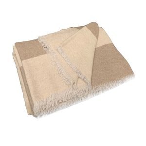 Line Oatmeal and Beige Cashmere Throw