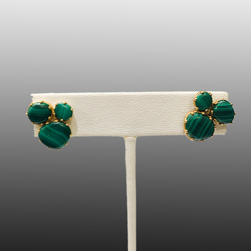 Scream Green Claw Cluster Malachite Studs