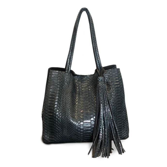 London Calling Blue Python Handbag