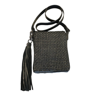 Waterfall Woven Black Leather Crossbody with Leather Strap