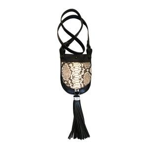 Run Around Sue Natural Python Crossbody with Leather Strap