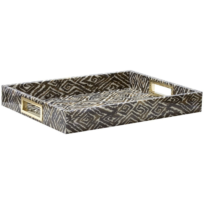 Ikat Lacquer Tray, Cedar Brown