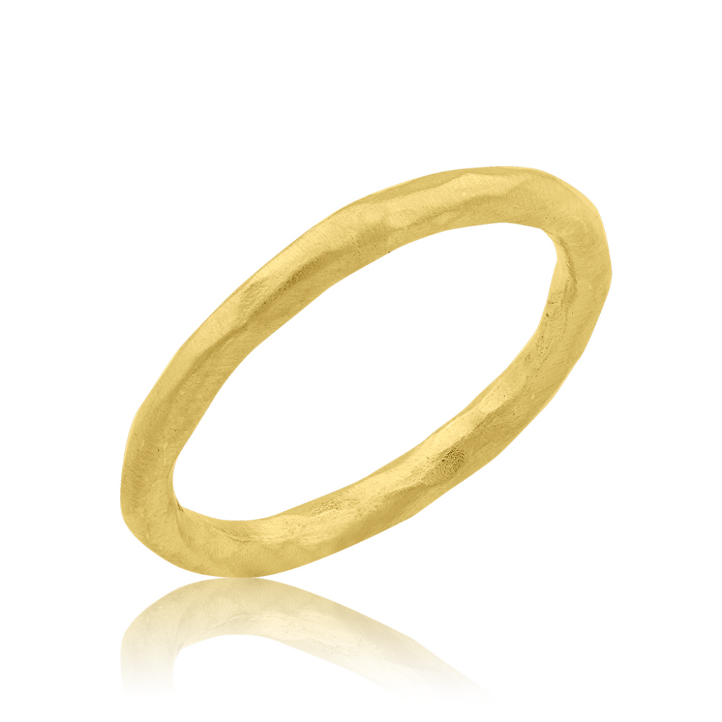 Thin Hammered Gold Ring