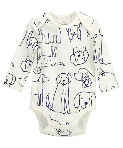 Dog Print Long Sleeve Bodysuit