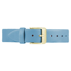 Classic Angel Blue Leather Strap Champagne Gold Buckle | 16mm