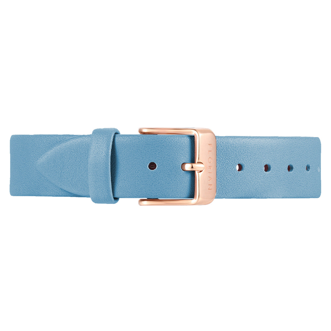 Classic Angel Blue Leather Strap Rosy Gold Buckle | 16mm