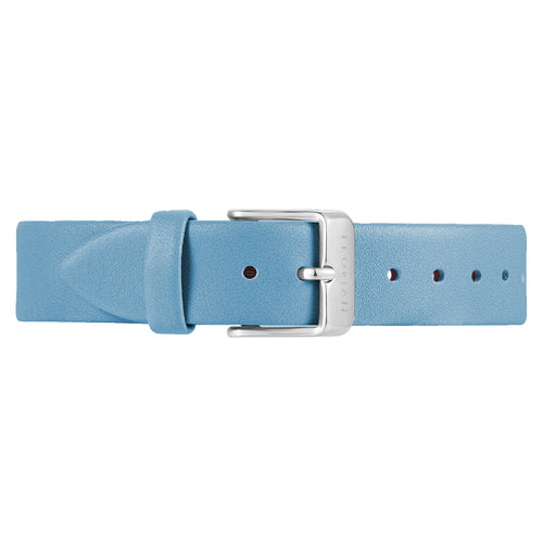 Classic Angel Blue Leather Strap Silver Chic Buckle | 16mm