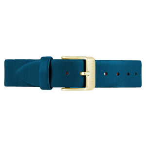 Classic Teal Blue Leather Strap Champagne Gold Buckle | 16mm