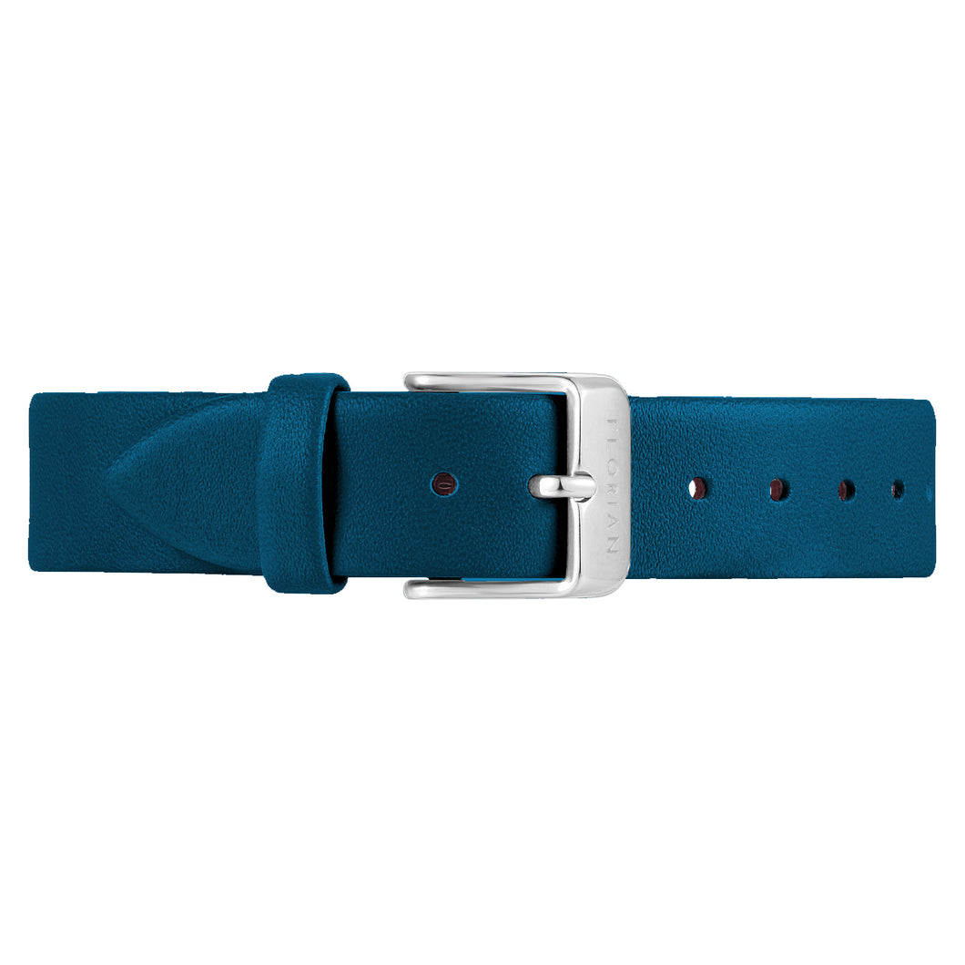 Classic Teal Blue Leather Strap Silver Chic Buckle | 16mm