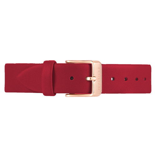 Classic Cherry Red Leather Strap Rosy Gold Buckle | 16mm