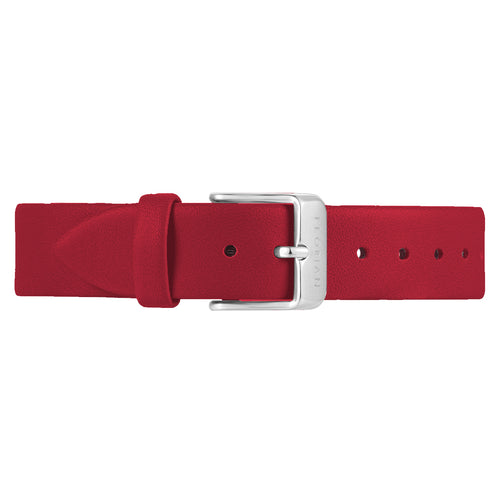 Classic Cherry Red Leather Strap Silver Chic Buckle | 16mm